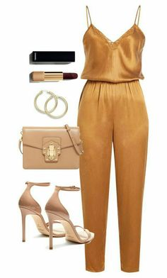 A fashion look from December 2017 featuring Mes Demoiselles. jumpsuits, Yves Saint Laurent sandals and Dolce&Gabbana clutches. Browse and shop related looks. Classy Outfits, Sexy Outfits, Stylish Outfits, Summer Outfits, Fashion Outfits, Fashion Mode, Look Fashion, Look Girl, Looks Plus Size