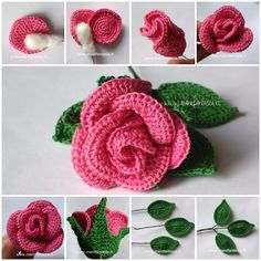 Small Stem Rose Crochet pattern by Natagor Finlayson Crochet Flower Tutorial, Crochet Flower Patterns, Crochet Motif, Crochet Stitches, Knit Crochet, Roses Au Crochet, Crochet Leaves, Crochet Flowers, Crochet Crafts