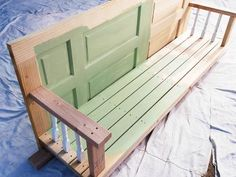 A porch swing doesn't have to cost a fortune. Learn how to build one using basic and an old door. Outdoor Spaces, Outdoor Chairs, Outdoor Decor, Outdoor Living, Outdoor Projects, Outdoor Life, Pallet Projects, Outdoor Ideas, Outdoor Furniture