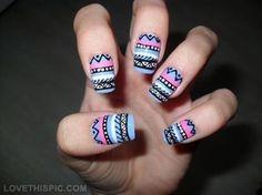 Tribal nails nails nail stripes creative tribal pretty nails nail ideas nail designs