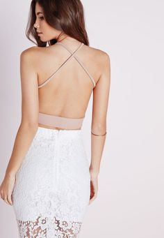 1f5d94c6f3797c Missguided - Cross Back Crepe Crop Top Taupe Cami Crop Top