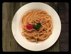 Pasta with clams and squid