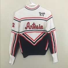 Vintage Cheerleader Knit Sweater Rare vintage cheer sweater from 90-91, has the name Charlotte engraved and from Artesia High super cute and in perfect condition Sweaters