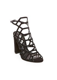 56fe7f6443f Steve Madden Women s Skales Caged Sandal Black Nubuck Size 7 M Ankle Strap  Shoes