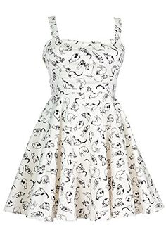 Ixia Vintage Cat Fold Over A-line Dress-Ivory-Large at Amazon Women s Clothing  store  6c7651e068cd