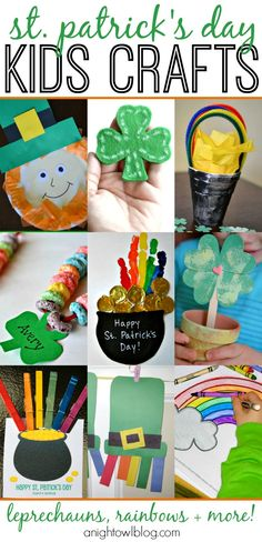 So many fun St. Patrick's Day Kids Crafts - leprechauns, rainbows and more!