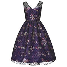 'Aliza' Purple Floral Print Occasion Dress ($90) ❤ liked on Polyvore featuring dresses, purple, botanical dress, flower print dress, floral print dress, blue floral print dress and blue floral dress