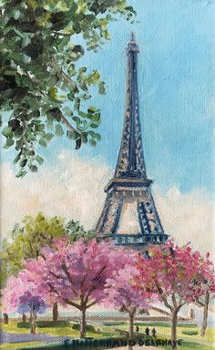 Eiffel Tower Drawing, Eiffel Tower Painting, Eiffel Tower Art, Eiffel Towers, Paris Painting, City Painting, Spring Painting, Oil Painting Abstract, Paris Canvas