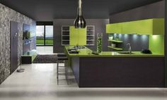 Sleek Modern Kitchens  That one's nice, too. I'd still prefer the walnut wood kitchen with a green wall behind :)