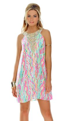 New Lilly Pulitzer Cadence Silk Dress, Multi Dripping In Jewels, S-XL  #LillyPulitzer