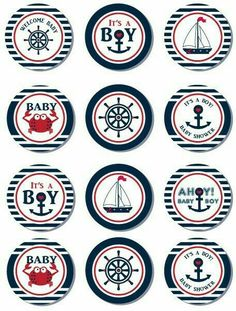 Items similar to Nautical Baby Shower Cupcake Toppers,Favor Tags, Ahoy - Anchor - It's a Boy Printable DIY Yellow Navy - ONLY digital file - you print on Etsy Baby Shower Cupcakes For Boy, Cupcakes For Boys, Baby Shower Cupcake Toppers, Baby Shower Party Favors, Baby Shower Cookies, Baby Shower Table, Baby Shower Centerpieces, Baby Shower Themes, Baby Boy Shower