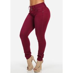 Butt Lifting Burgundy Red Pants with Three Button Closure ($27) ❤ liked on Polyvore featuring pants, red trousers, burgundy pants, burgundy trousers and red pants