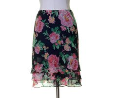 Lauren Ralph Lauren Navy Blue Pink Green Floral Tiered Silk Skirt Size 16 #LaurenRalphLauren #Tiered