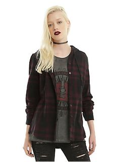 """<div>Grunge is back, and this hooded woven is proof! The burgundy and black plaid woven is an amazingly versatile layering piece that you can wear over band tees or under denim jackets or vests. It has a drawstring hood, hip pockets and button front closure. The coolest part? Skull elbow patches. They're so subtle, you can barely see them, but once you do, they'll be your favorite thing ever.</div><div><ul><li style=""""list-style-position: outside !important; list-style-type: disc !impor..."""