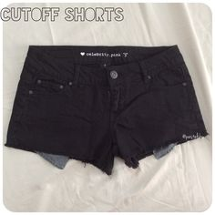 2 for $20  cutoff black shorts NEW without tags, never worn- dark black shorts perfect for this warm weather!  size- 3 waist- 14.5 inches laying flat length- 10.5 back at longest, 8.5 front inseam- 2 inches  pick any 2 items with  for $20  please don't hesitate to ask questions, thanks for looking  Celebrity Pink Shorts