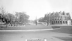 Hunter's Bar, Ecclesall Road, Sharrow Vale Road, right, No 669, National Provincial Bank. Gate posts from toll bar on roundabout