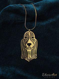 Basset hound  gold dog jewelry  pendant and by SiberianArtJewelry, $89.00