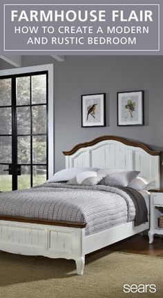 Add country charm to your bedroom with farmhouse style furniture that combines traditional and modern elements. Relax in style with luxurious cotton sheets, a rustic bedframe and calming art that give your bedroom country flair. Get the farmhouse look for your new home or new space, and discover more at Sears.