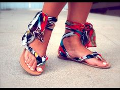 e2a03358321d Make your own gladiator sandals with a pair of flip-flops and a scarf.