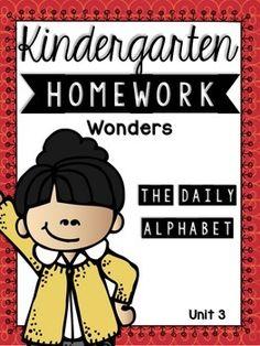 Kindergarten Homework Wonders Edition: Unit 3