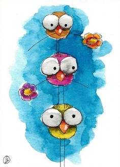 ACEO Original watercolor art painting whimsical three bird big eyes tower flower #IllustrationArt