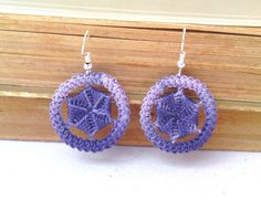 Purple ombre earrings small round crochet dangle by TinyOrchids, $10.00