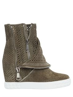 CASADEI - 90MM PERFORATED SUEDE WEDGE SNEAKERS - LUISAVIAROMA - LUXURY SHOPPING WORLDWIDE SHIPPING - FLORENCE