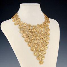 Vintage Vendome Gold Filigree Flower Bib Necklace