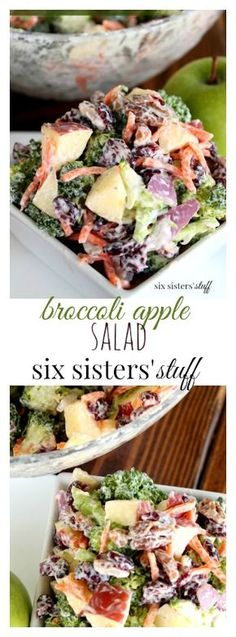 Broccoli Apple Salad from Six Sisters' Stuff | Broccoli Salad is definitely one of my favorites. It's so easy to make and I actually enjoy eating broccoli this way. It's a new family favorite, and a great way to put all my fall apples to use.
