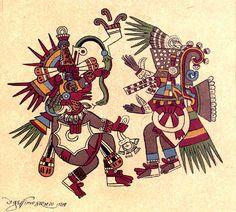Tezcatlipoca y Quetzalcoátl, dioses indígenas prehispánicos