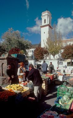 Market day in the town square at Pitres, the Sierra Navada Mountains, Andalucia, Spain