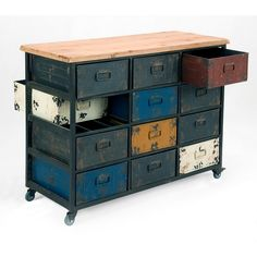 Moe's Home Collection Paintbox Cabinet Distressed Multicolor Iron Wood Top 12 Drawers Casters HU-1060-37 at Dynamic Home Decor
