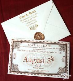 While you can't just conjure the perfect Hogwarts-themed wedding with a mere swish-and-flick of a wand, you can Accio! key elements to complete the magical vibe.  1. Send out Hogwarts Express tickets as save the date