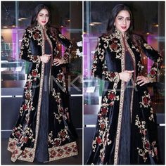 ridevi looks flawless in this stylish black outfit at an event! All Black Dresses, Dressy Dresses, Simple Dresses, Indian Gowns, Pakistani Dresses, Indian Outfits, Velvet Dress Designs, Conservative Fashion, Party Wear Lehenga