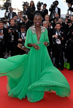 "Lupita Nyong'o in a Gucci gown at the Cannes Film Festival premiere of ""La Tête Haute."" (Photo: Pascal Le Segretain/Getty Images)"