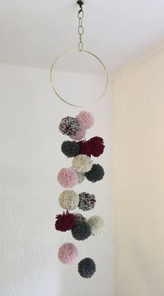 Pom-Pom Mobile Wall Hanging Baby Mobile by thegoodwillowshop
