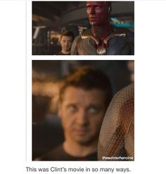 Clint Barton is the mvp of the Avengers I swear this is an archer trait. Marvel Fan, Marvel Dc Comics, Marvel Avengers, Clint Barton, Avengers Memes, Marvel Jokes, The Mentalist, Hulk, Movies And Series