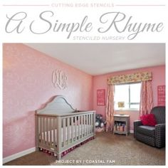A DIY pink stenciled nursery using the Simple Rhyme Allover Stencil. http://www.cuttingedgestencils.com/simple-stencil-stencils.html