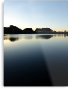 Indian summer sunset at the fishing lake V | waterscape photography by Patrick Jobst. Fine wall art metal print, available in different sizes (from extra small to extra large) and Gloss or Matte finish. #metalprint #wallart