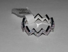 Clear CZ Micro-Paved Chevron Style Ring ~ Rhodium Plated  #AimeesTreasures #Fashion