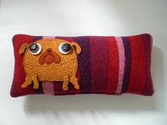 pug pillow pugs and stripes orange on reds and by maldimaglia, $72.00