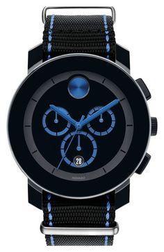 Men's Movado 'Bold' Chronograph Canvas Strap Watch