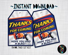 Nerf Favor Tags Birthday Party Thank you Tags Nerf Wars Strongarm Blaster Gun - INSTANT DOWNLOAD with matching Invitation Available by PartyTimeKidsCo on Etsy