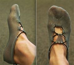 """Foot in Armor? Thousands of tiny, interlocking stainless-steel rings for protection and """"sensation"""" on the ground as you run. Chain mail breaks under normal use in food processing. I would hate to think about the links breaking and embedding in your foot. Barefoot Running Shoes, Going Barefoot, Fashion Shoes, Mens Fashion, Runway Fashion, Minimalist Shoes, Steel Chain, Chain Mail, Stainless Steel Rings"""