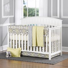 Liz Roo Gray And Yellow Eden 4 Piece Baby Bedding Set