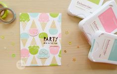 Carnival Fun stamp set and die cut Party Invite card: Pear, Pixie and Lagoon for the actual ice cream and I used the Bamboo ink to stamp the cones. Using a inlay die cut technique