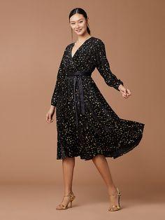 57c3f0f9e2562 Animal Devore Wrap Dress Gold Palette