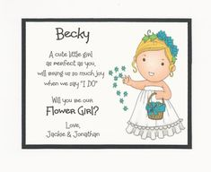 Items similar to BLONDE Maggie- Will you be my Flower Girl Flat card - Personalized custom on Etsy Bridal Party Invitations, Baby Shower Tags, My Flower, Flowers, Cute Little Girls, Baby Elephant, Wedding Bridesmaids, Joy, Handmade Gifts