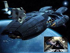 Battlestar Galactica comic book - Raptors approaching the Glactica's landing bay (the reimagined Galactica) #BSG