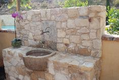 Antique Stone Sinks mediterranean-outdoor-fountains